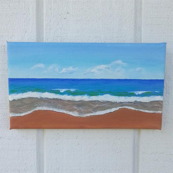 simple beach scene acrylic painting alisonglenartanddesign