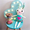 Big Love Bunny - easter, soft toy, linen, cotton, embroidery, felt, lace.