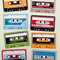 *With blank labels* Cassette tape stickers, set of 8, write your own labels