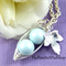 Two Peas In A Pod Silver Necklace Pastel Blue