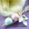 Two Peas In A Pod Silver Necklace Pastel Rose And Pastel Blue