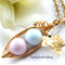 Two Peas In A Pod Gold Necklace Pastel Blue And Pink