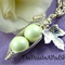 Two Peas In A Pod Silver Necklace Pastel Green