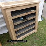 """Recycled Hardwood Wine Rack """"Australiana"""" with corrugated iron shelves"""