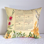 1987 Calendar Cushion cover Australian wildflowers decor