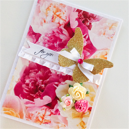 For you lush floral gold glitter butterfly with paper roses & ruffle ribbon card