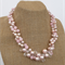 Shades of Pink Pearl Crochet Wire Beaded Handmade OOAK Necklace by Top Shelf