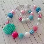 'Cotton Candy' Chunky Bubblegum Bead Matching Necklace & Bracelet Jewellery Set