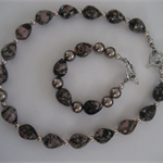 Pink/Brown Agate & Taupe Pearl necklace and bracelet set