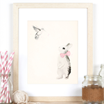 Bunny and the Hummingbird A4 Art Print in Light Pink
