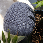 Hand-Knit Adult Lace Rib Beanie Hat, Dark Grey
