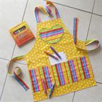 Kids Apron yellow - crayon pocket apron - girls/boys lined craft/play/art apron