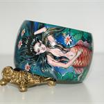 Hand Painted Wood Mermaid Bracelet Bangle Water Lily Lotus Flower OOAK Jewelry