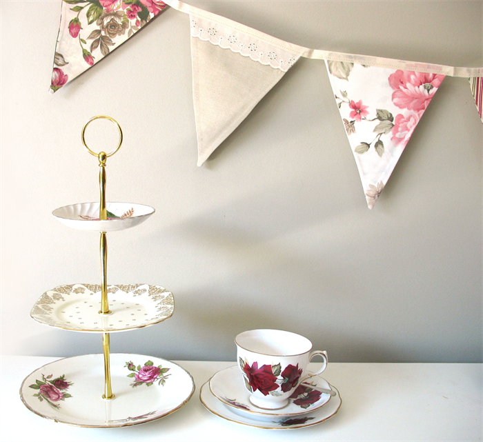Kitchen Tea Decoration Ideas: Vintage Blue & Beige Lace Floral Flag Bunting. Garden Tea