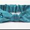 """Rhinestone Hearts, Pure Silk Turquoise Baby Knot Headband, """"Hannah"""", Baby Bow"""