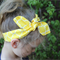 "Geometric girls knotted headband, ""Heather"", yellow and white, girl headband"