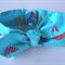 """Baby girl headband, """"Amelia"""", baby knot headband, blue, umbrellas, raindrops"""