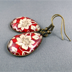 Teardrop Earrings - Red and Ivory Floral Glass Cabochon