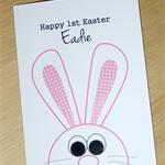 Personalised Happy Easter Card - cute bunny - handmade!