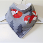 Soft Fox Woodland Flannel Bandana Dribble Bib with Double Layered Backing