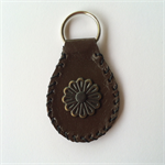 Ladies Brown Leather Flower Key Ring -Genuine Kangaroo -handmade in Australia
