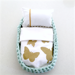 Baby Doll Moses Basket | Gold Butterfly | Hand Printed