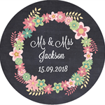 Personalised chalkboard wreath vintage wedding stickers favours bomboniere gifts