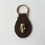 Men's Brown Leather Skull Key Ring -Genuine Kangaroo Skin -handmade in Australia