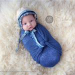 SALE Newborn Fabric Bonnet with Sari Silk Ribbons / Photography Prop / Blue
