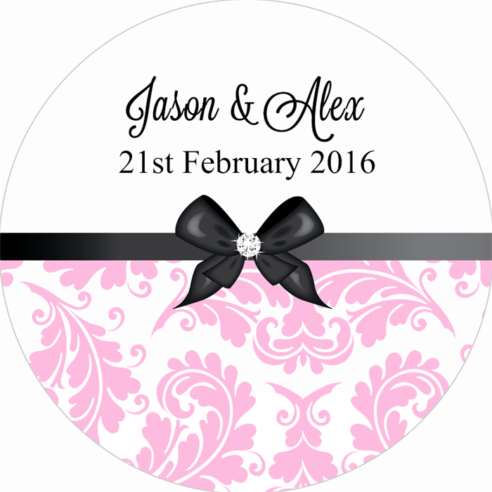 Personalised damask wedding sticker stickers favours favour thank you gifts