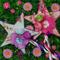 Garden Flower Fairy Wand. Set of 2 whimsical enchanted wands. Pink , Blue.