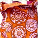 Large reversible market bag. Modern print in rust, pink and orange
