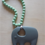 Silicone Elephant Teether in Grey/Mint