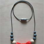 Silicone Teething Necklace -Rose in Coral-