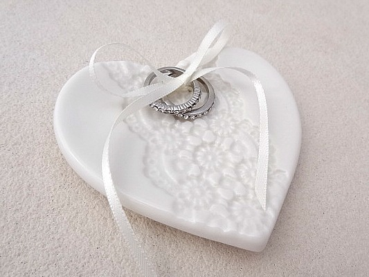 White Lace Porcelain Heart Wedding Ring Dish Ceramic Holder