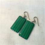 Green Rectangle Dangle Earrings Niobium Vintage