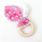 Baby Teether  Pink Mushrooms