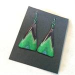 Green and Grey Dangle Earrings Niobium Vintage