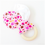 Wooden Baby Teether Pink Swirls