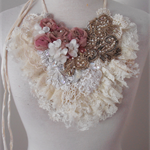 unconventional wedding lace beaded necklace, boho beaded lace necklace