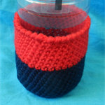 Bottle Cosy - Navy Blue and Red
