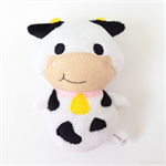 Moo Cow Rattle Toy White Black Pink