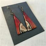 Red Ochre Dangly Earrings Niobium Original and Unique one off design
