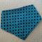 Blue and black polka dot bandana dribble bib