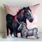 Horse cushion cover Shire mare and foal Made from vintage linen tea towel