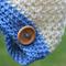 crochet beanie   chunky crochet   cream & blue    newborn baby