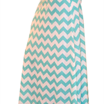 Aqua Chevron Maxi Skirt in Cotton Jersey