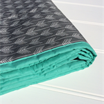 Little Arrows baby cot quilt, playmat, pram blanket in grey & aqua green