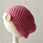 crochet beanie | chunky crochet | pink & cream | girls slouchy | 1 - 3 years