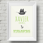 A4 Nursery Art Print - Baby Name and Birth Details - You choose the colour!